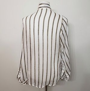 Free People Tops - NWT Free People Stripe Tie Neck Button Blouse